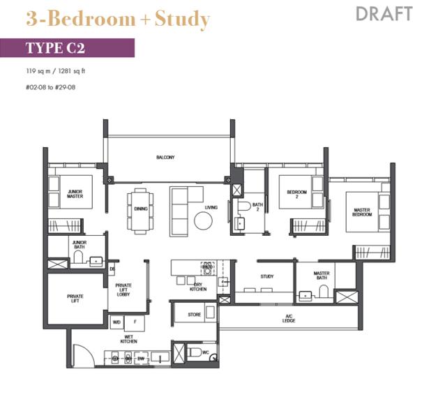 pullman residences floor plan_3bedroom_plus_study